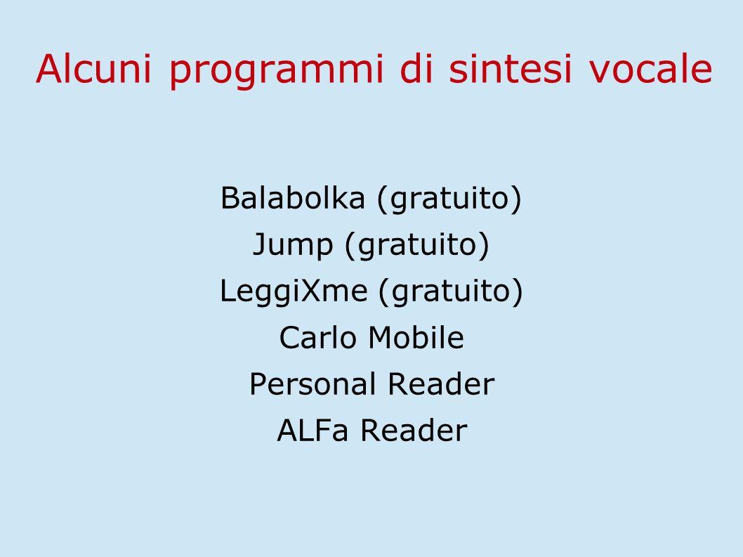 Alcuni programmi di sintesi vocale