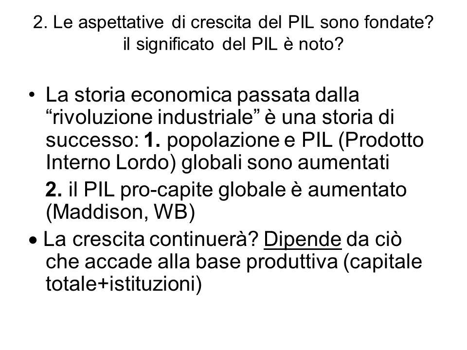 2. il PIL pro-capite globale è aumentato (Maddison, WB)
