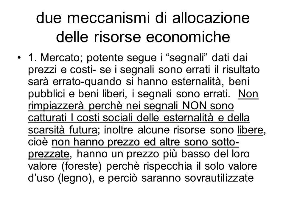 due meccanismi di allocazione delle risorse economiche
