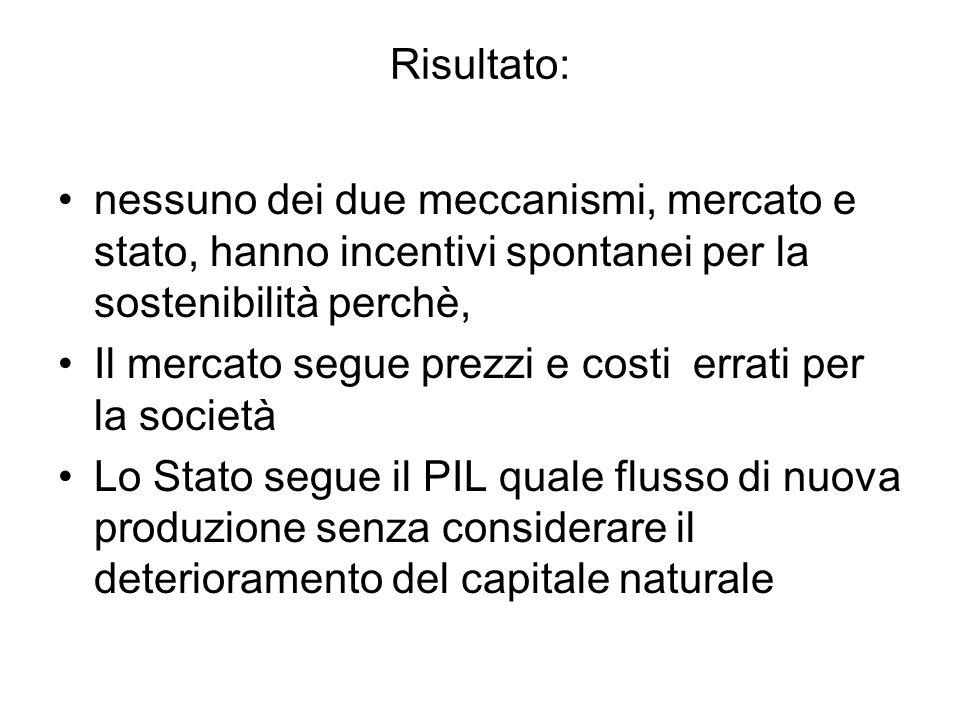 Risultato: nessuno dei due meccanismi, mercato e stato, hanno incentivi spontanei per la sostenibilità perchè,