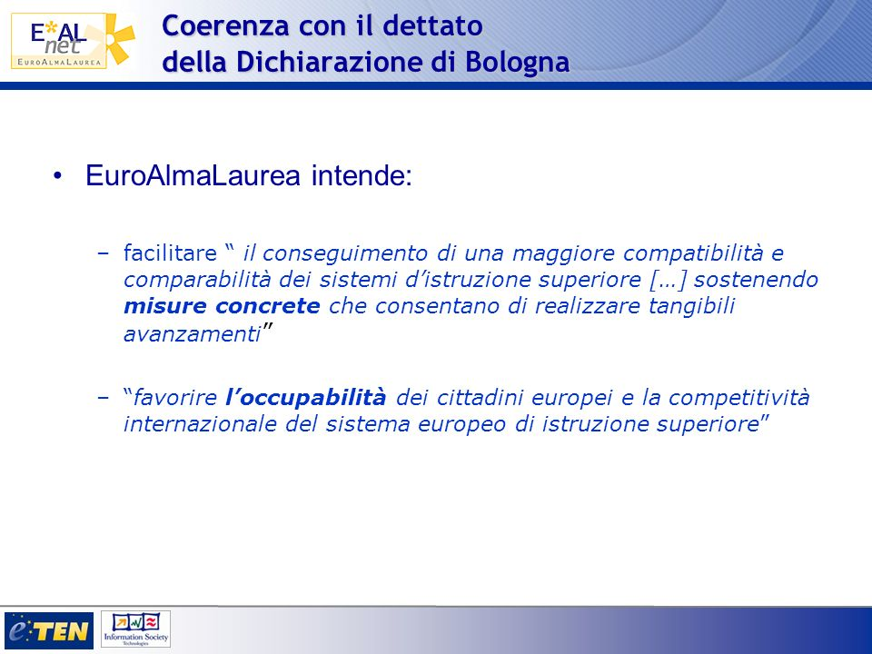 Coerenza con il dettato della Dichiarazione di Bologna