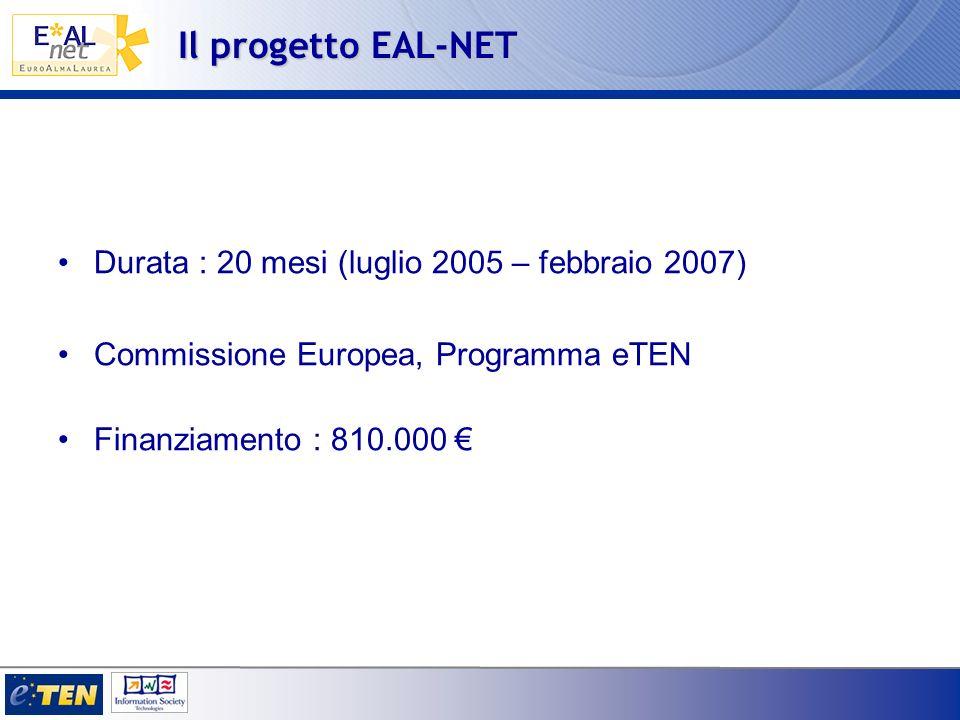 Il progetto EAL-NET Durata : 20 mesi (luglio 2005 – febbraio 2007)