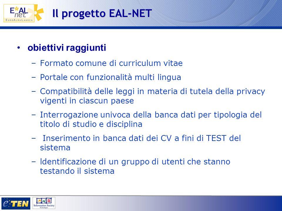 Il progetto EAL-NET obiettivi raggiunti