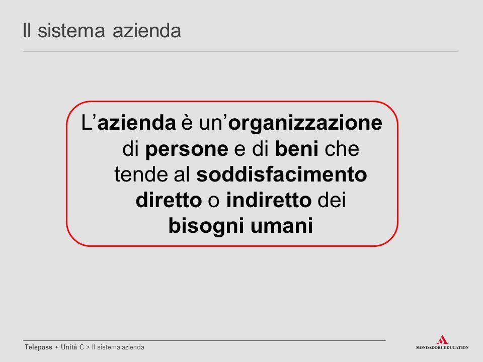 Il sistema azienda L'azienda è un'organizzazione di persone e di beni che tende al soddisfacimento diretto o indiretto dei bisogni umani.