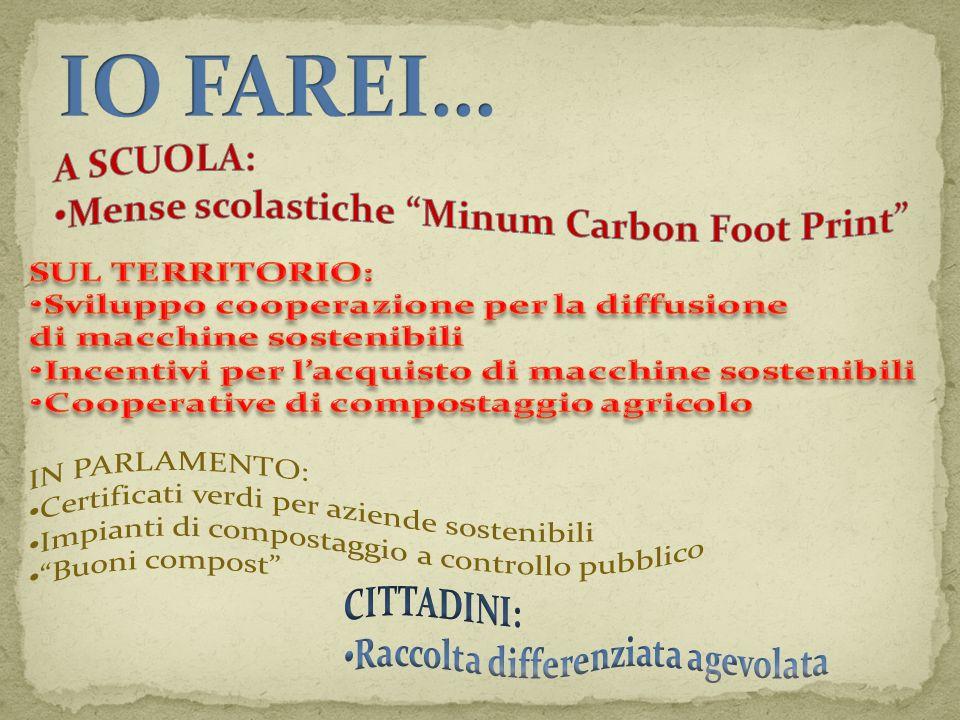 IO FAREI… A SCUOLA: Mense scolastiche Minum Carbon Foot Print