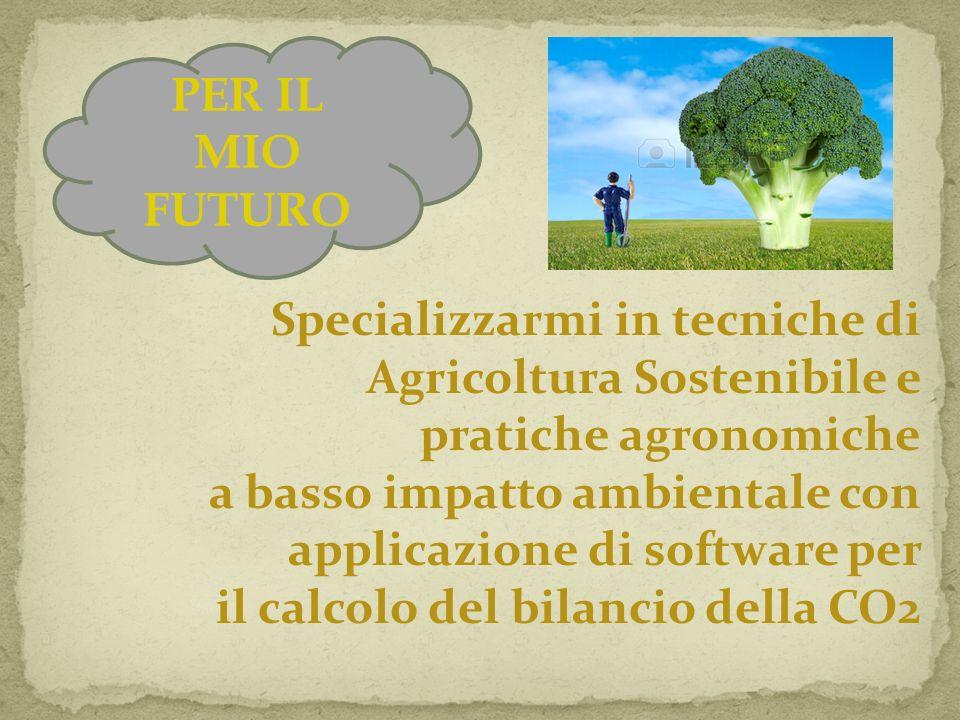 PER IL MIO FUTURO Specializzarmi in tecniche di Agricoltura Sostenibile e pratiche agronomiche. a basso impatto ambientale con.
