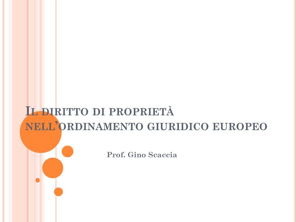 Il diritto di proprietà nell'ordinamento giuridico europeo