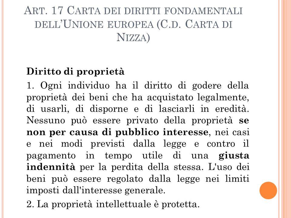 Art. 17 Carta dei diritti fondamentali dell'Unione europea (C. d