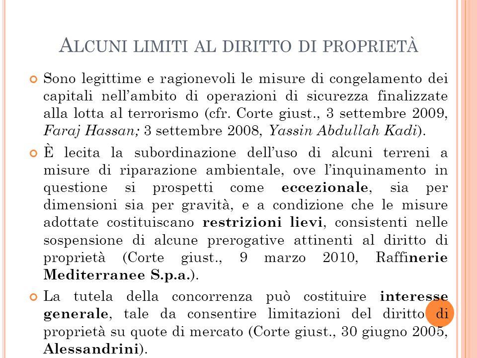 Alcuni limiti al diritto di proprietà