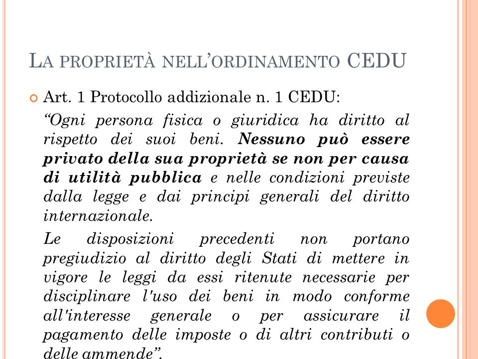 La proprietà nell'ordinamento CEDU