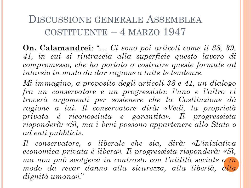 Discussione generale Assemblea costituente – 4 marzo 1947