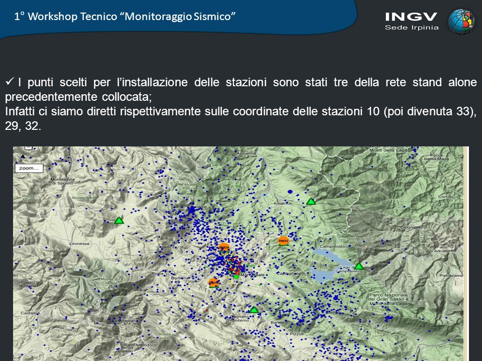 1° Workshop Tecnico Monitoraggio Sismico