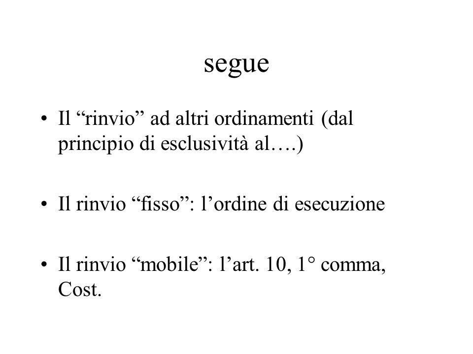 segue Il rinvio ad altri ordinamenti (dal principio di esclusività al….) Il rinvio fisso : l'ordine di esecuzione.