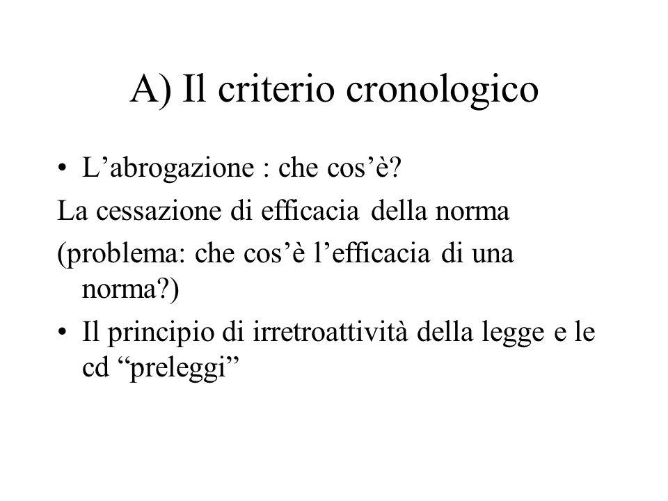 A) Il criterio cronologico