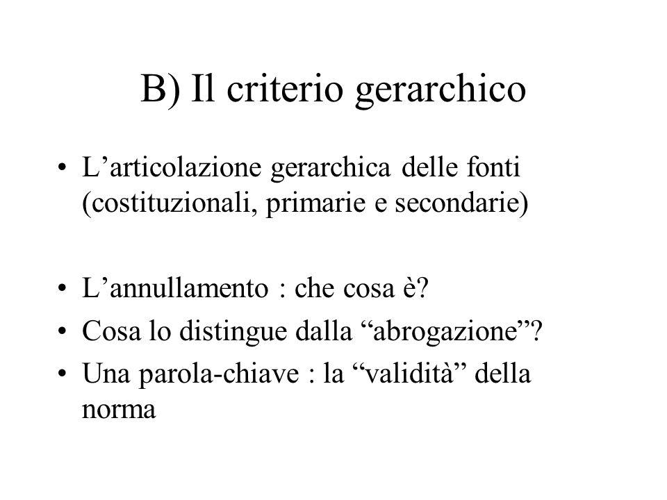 B) Il criterio gerarchico