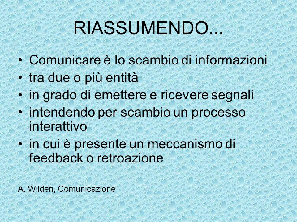 RIASSUMENDO... Comunicare è lo scambio di informazioni