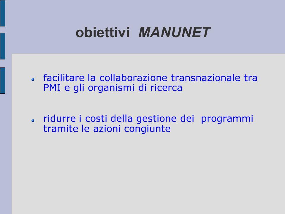 obiettivi MANUNET facilitare la collaborazione transnazionale tra PMI e gli organismi di ricerca.