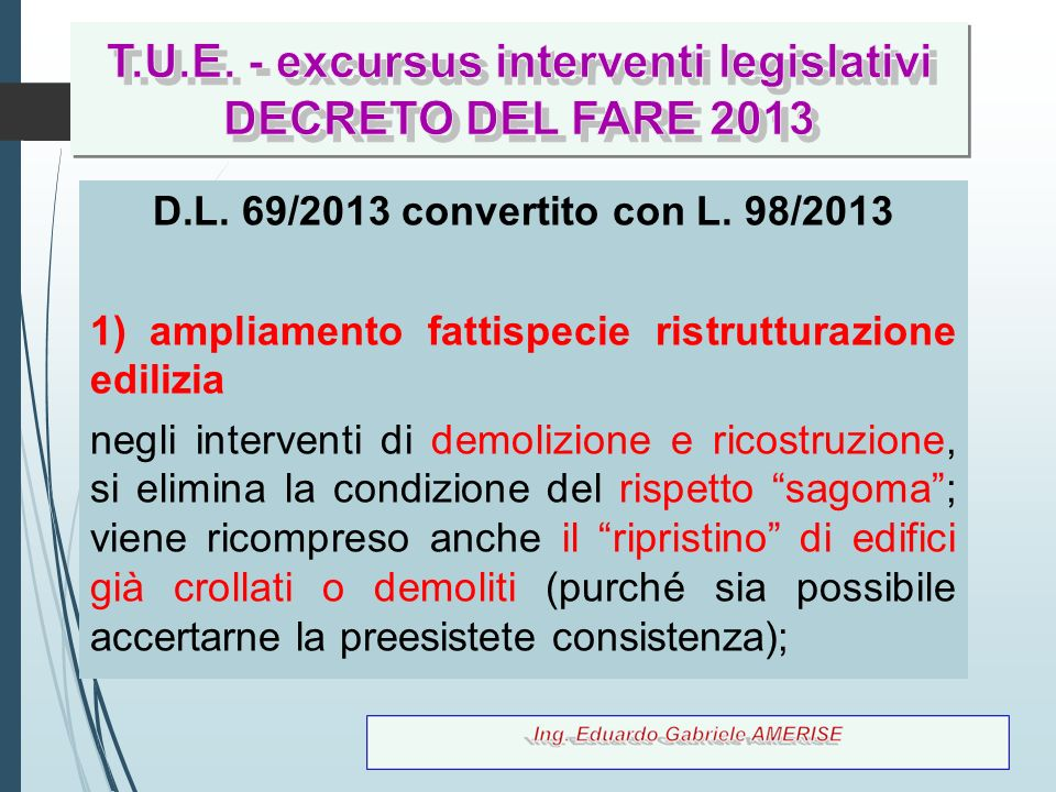 T.U.E. - excursus interventi legislativi