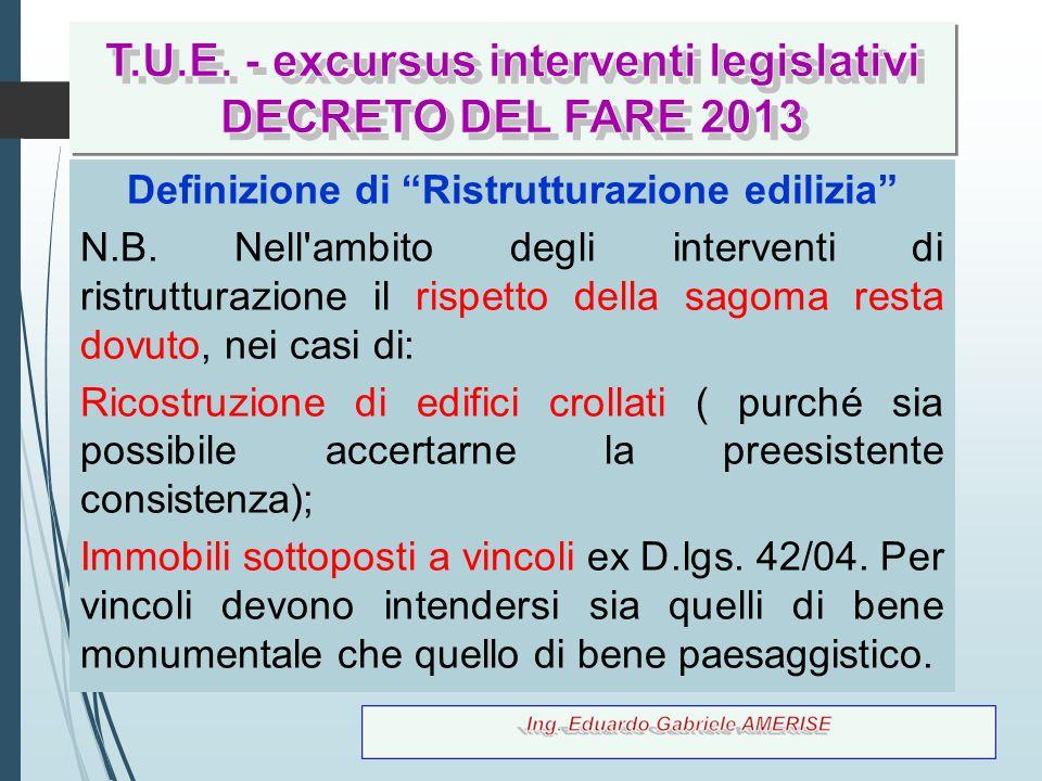 T.U.E. - excursus interventi legislativi DECRETO DEL FARE 2013
