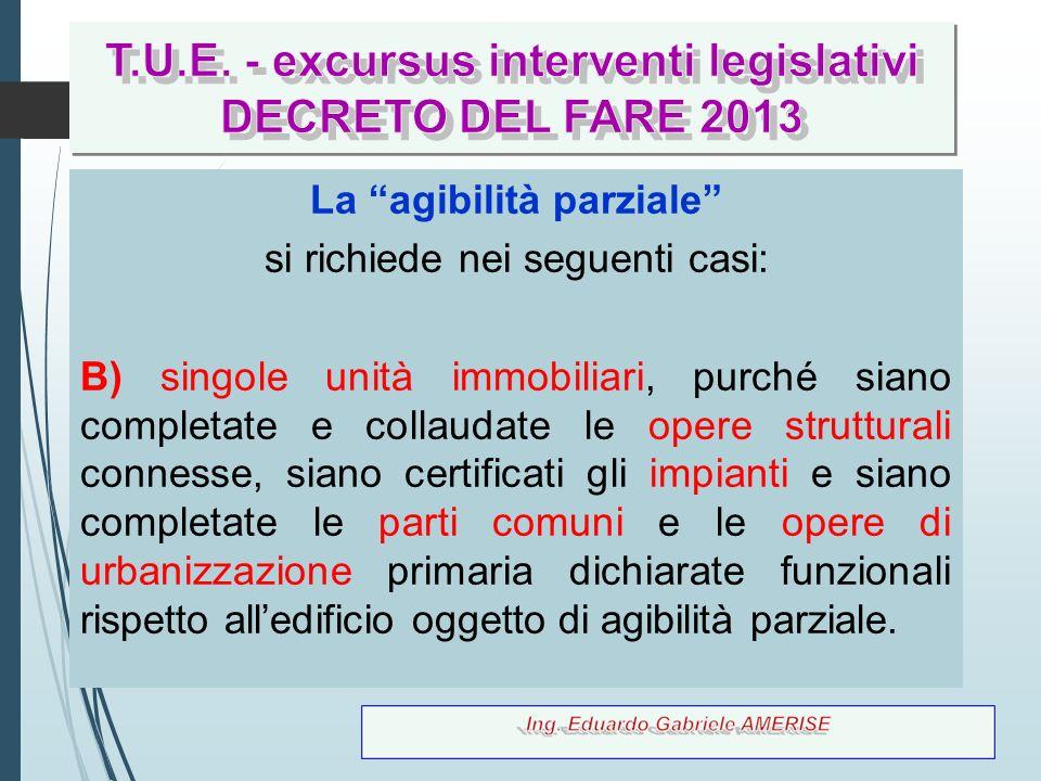 T.U.E. - excursus interventi legislativi La agibilità parziale