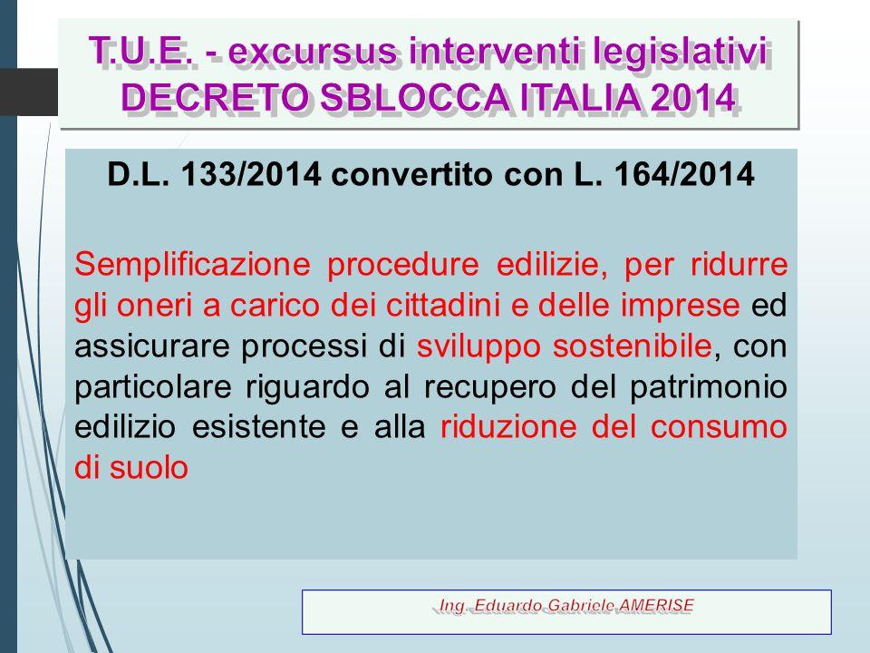 T.U.E. - excursus interventi legislativi DECRETO SBLOCCA ITALIA 2014