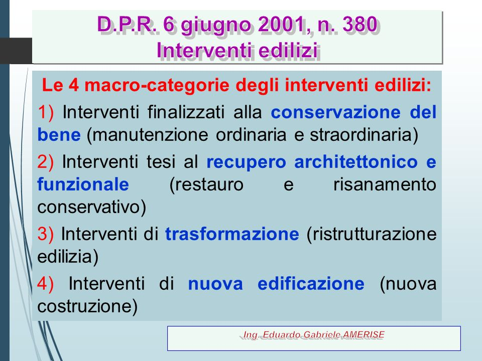 Le 4 macro-categorie degli interventi edilizi: