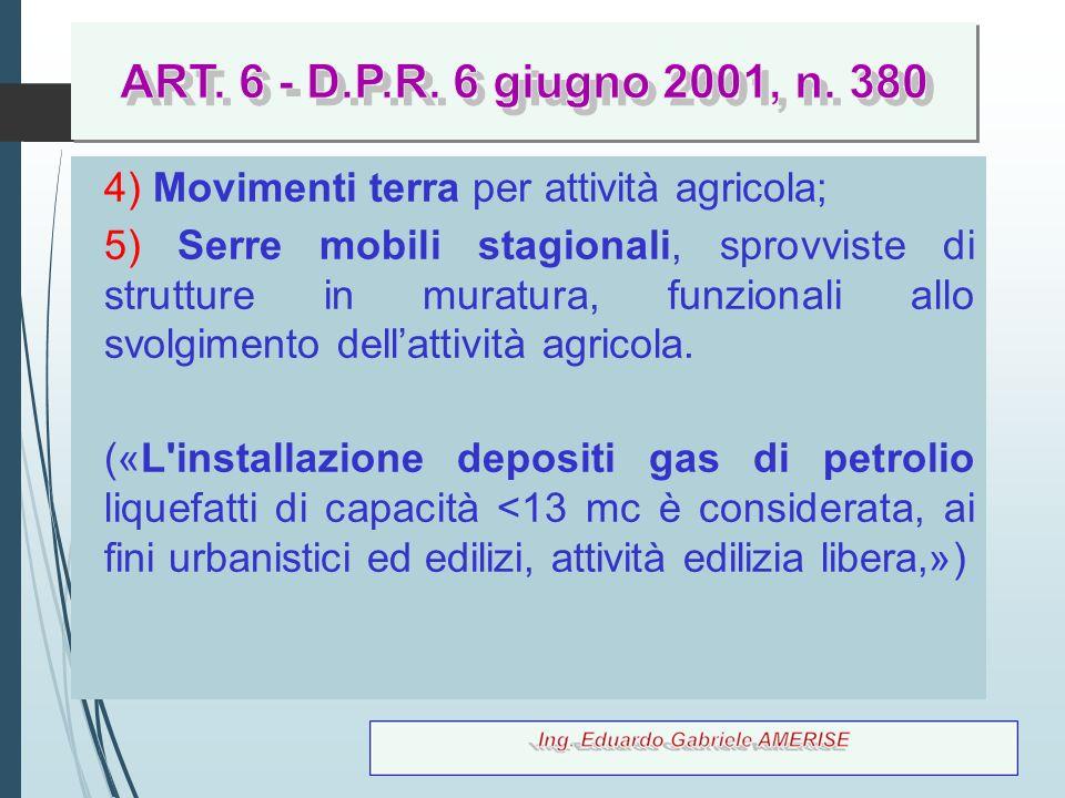 ART. 6 - D.P.R. 6 giugno 2001, n. 380 D.P.R. 6 giugno 2001, n. 380