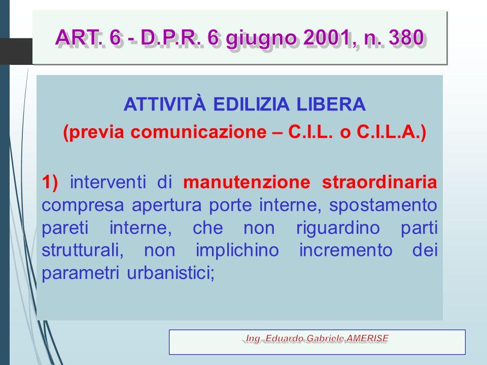 ATTIVITÀ EDILIZIA LIBERA (previa comunicazione – C.I.L. o C.I.L.A.)