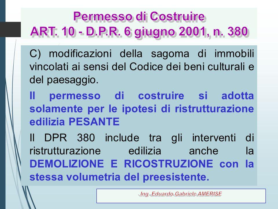 Permesso di Costruire ART. 10 - D.P.R. 6 giugno 2001, n. 380