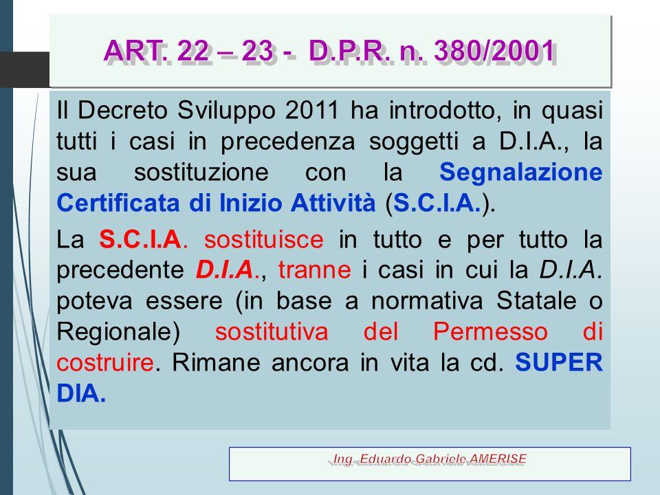 ART. 22 – 23 - D.P.R. n. 380/2001