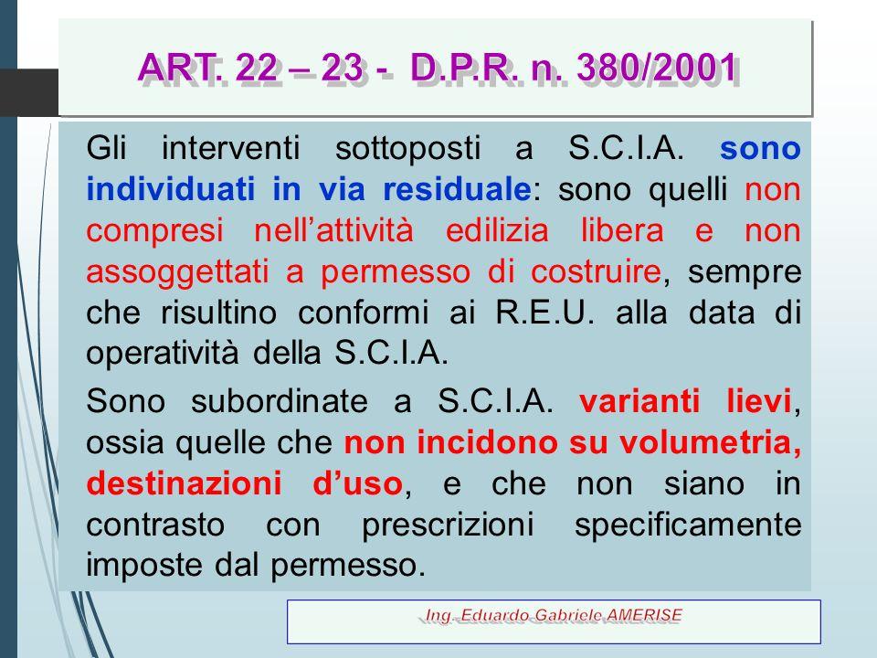 ART. 22 – 23 - D.P.R. n. 380/2001 ART. 22 – 23 - D.P.R. n. 380/2001