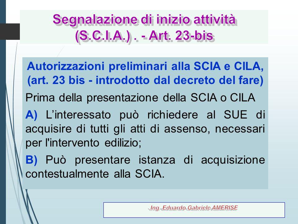 Segnalazione di inizio attività (S.C.I.A.) . - Art. 23-bis