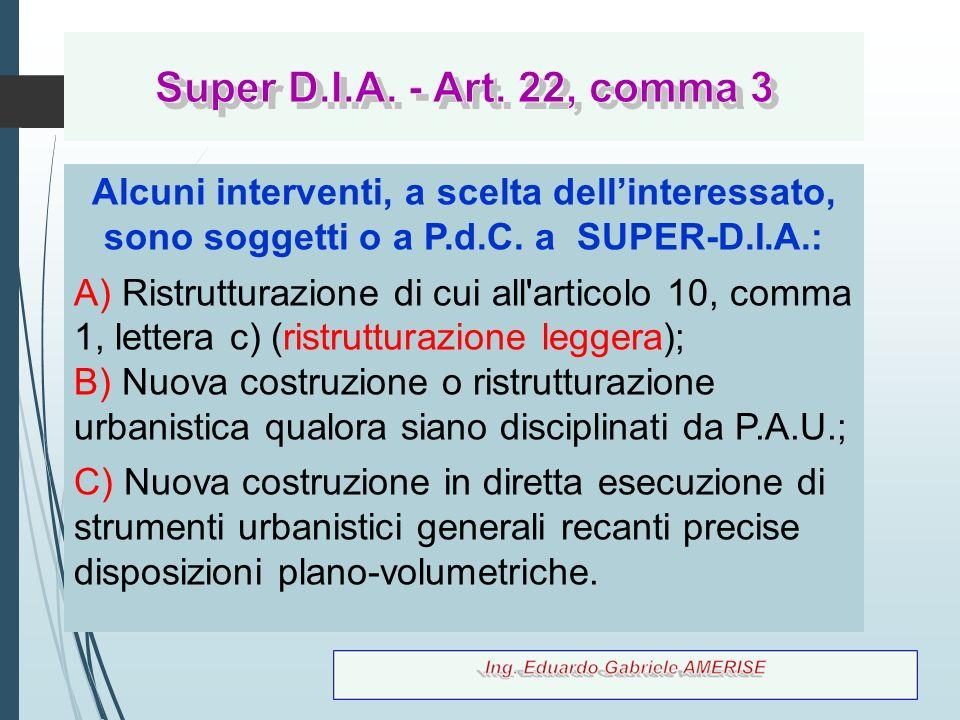 Super D.I.A. - Art. 22, comma 3 Alcuni interventi, a scelta dell'interessato, sono soggetti o a P.d.C. a SUPER-D.I.A.: