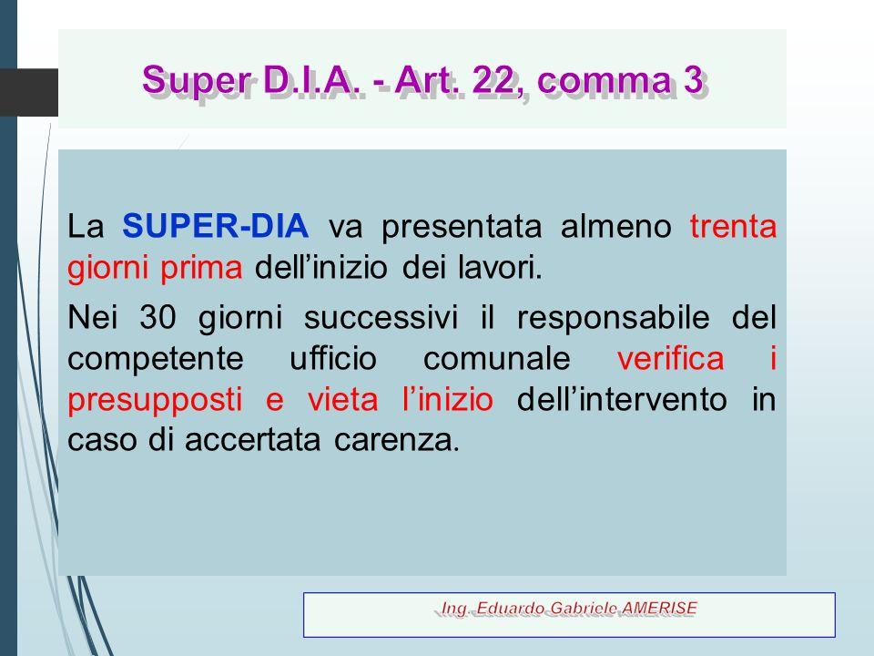 Super D.I.A. - Art. 22, comma 3 La SUPER-DIA va presentata almeno trenta giorni prima dell'inizio dei lavori.
