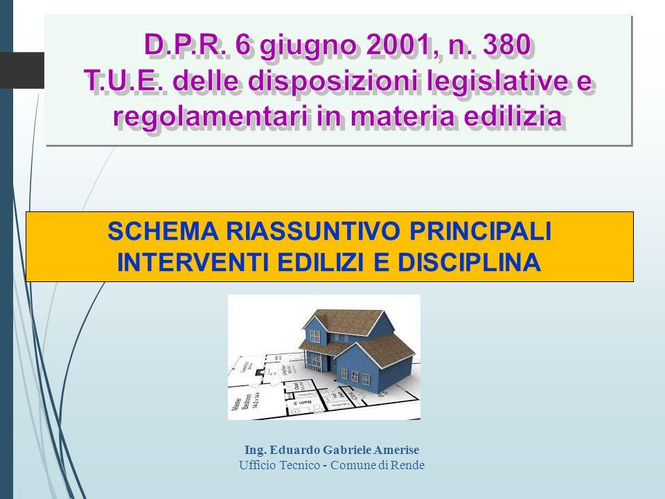 D.P.R. 6 giugno 2001, n. 380 T.U.E. delle disposizioni legislative e regolamentari in materia edilizia