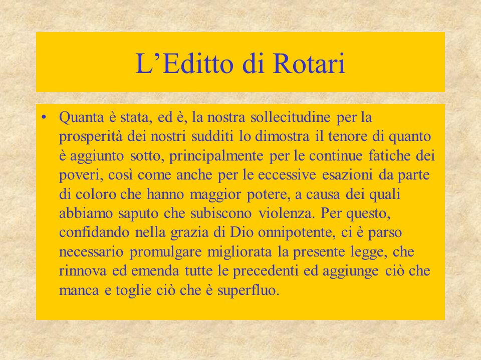 L'Editto di Rotari