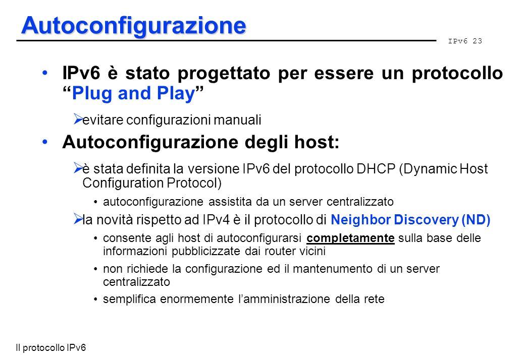Autoconfigurazione IPv6 è stato progettato per essere un protocollo Plug and Play evitare configurazioni manuali.