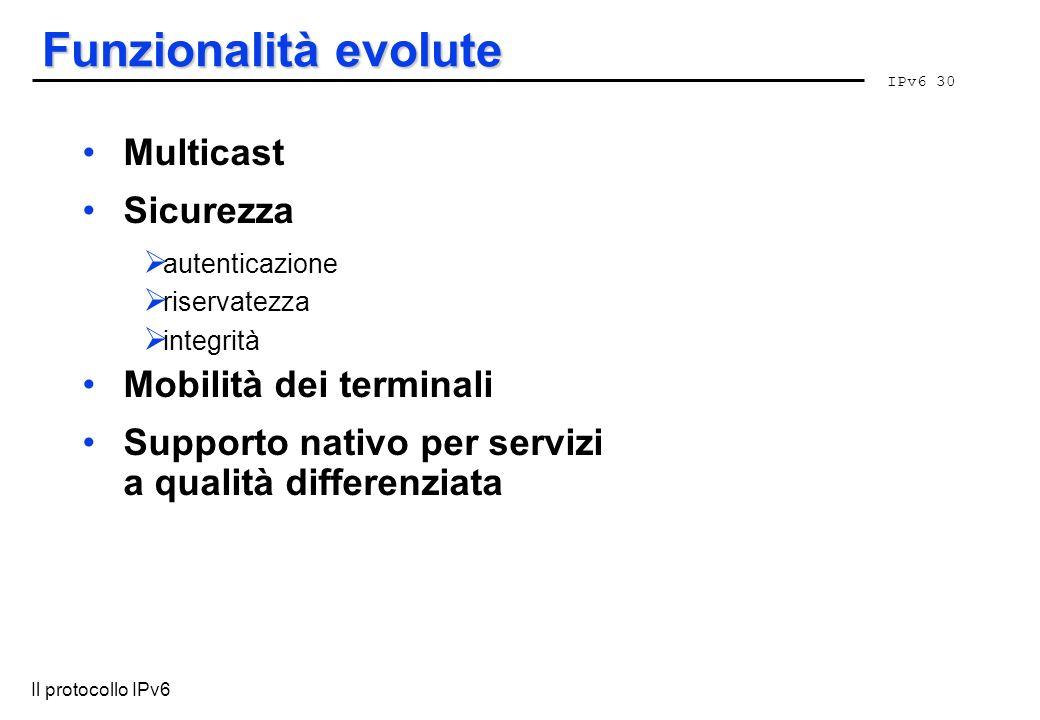 Funzionalità evolute Multicast Sicurezza Mobilità dei terminali