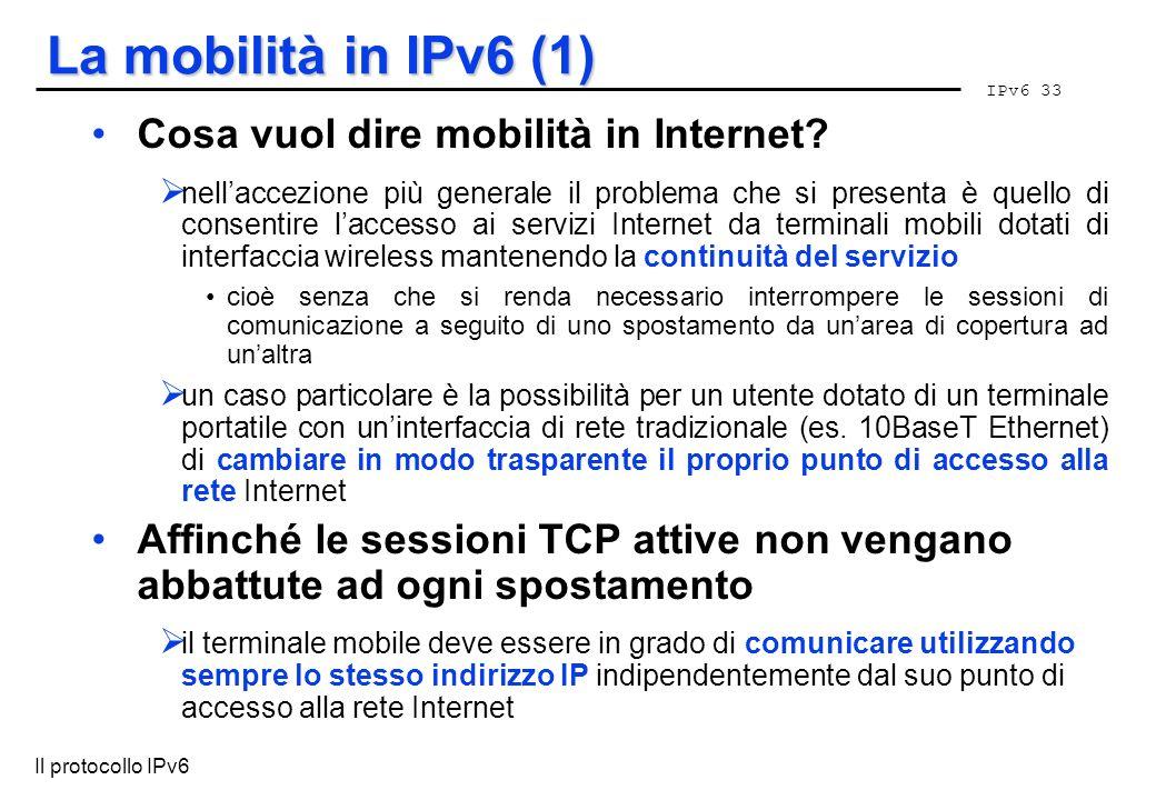 La mobilità in IPv6 (1) Cosa vuol dire mobilità in Internet