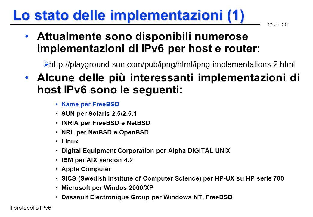 Lo stato delle implementazioni (1)