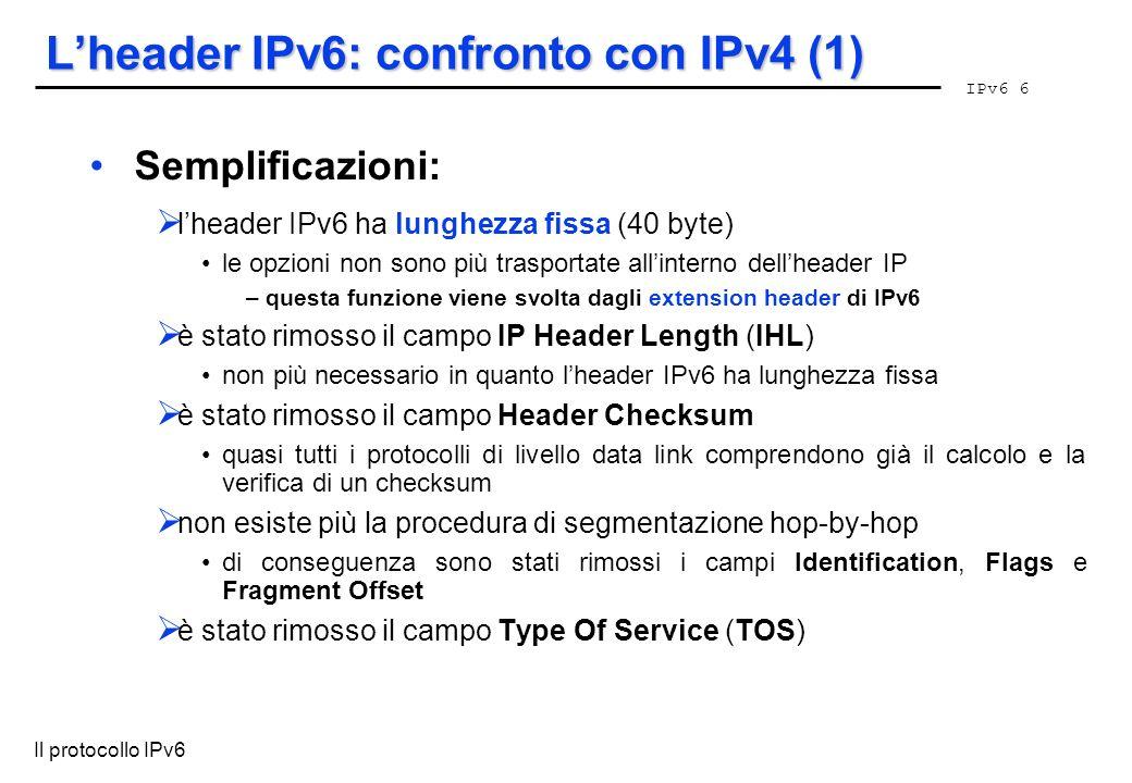 L'header IPv6: confronto con IPv4 (1)