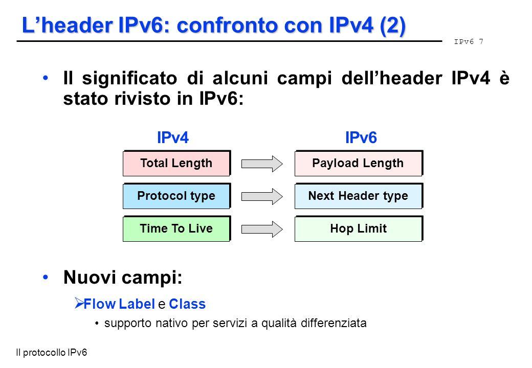 L'header IPv6: confronto con IPv4 (2)
