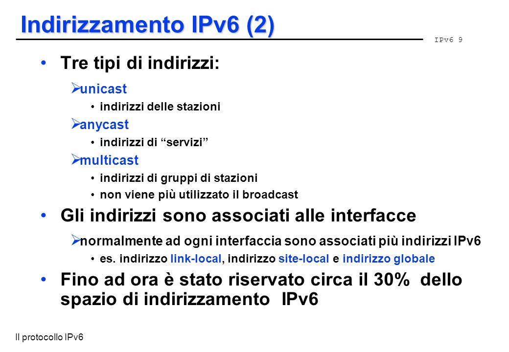 Indirizzamento IPv6 (2) Tre tipi di indirizzi: