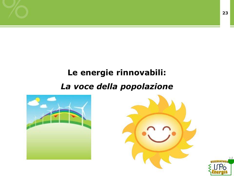 Le energie rinnovabili: La voce della popolazione