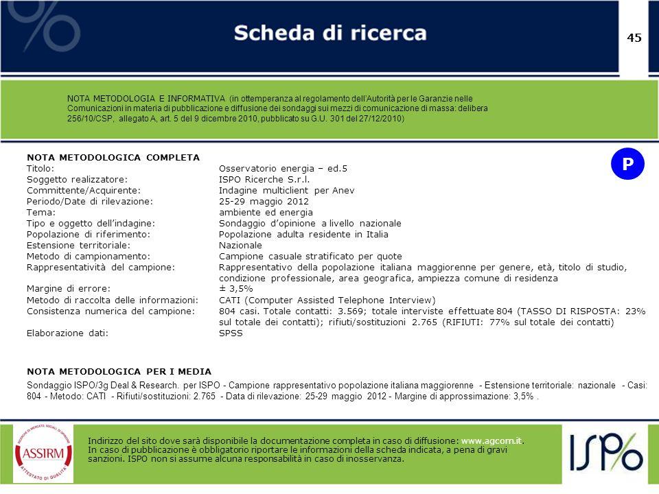 P 45 NOTA METODOLOGICA COMPLETA Titolo: Osservatorio energia – ed.5