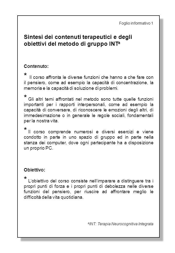 Foglio informativo 1 Sintesi dei contenuti terapeutici e degli obiettivi del metodo di gruppo INTa.