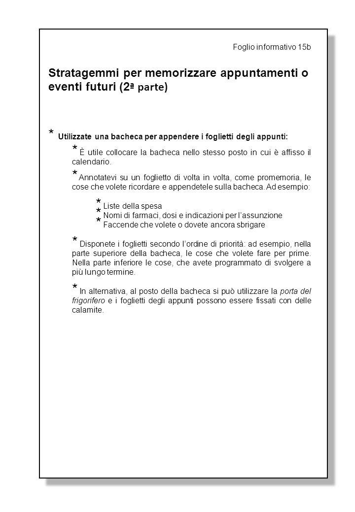 Stratagemmi per memorizzare appuntamenti o eventi futuri (2ª parte)
