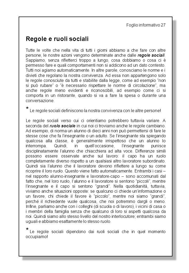 Regole e ruoli sociali Foglio informativo 27