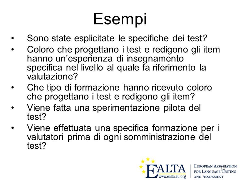Esempi Sono state esplicitate le specifiche dei test