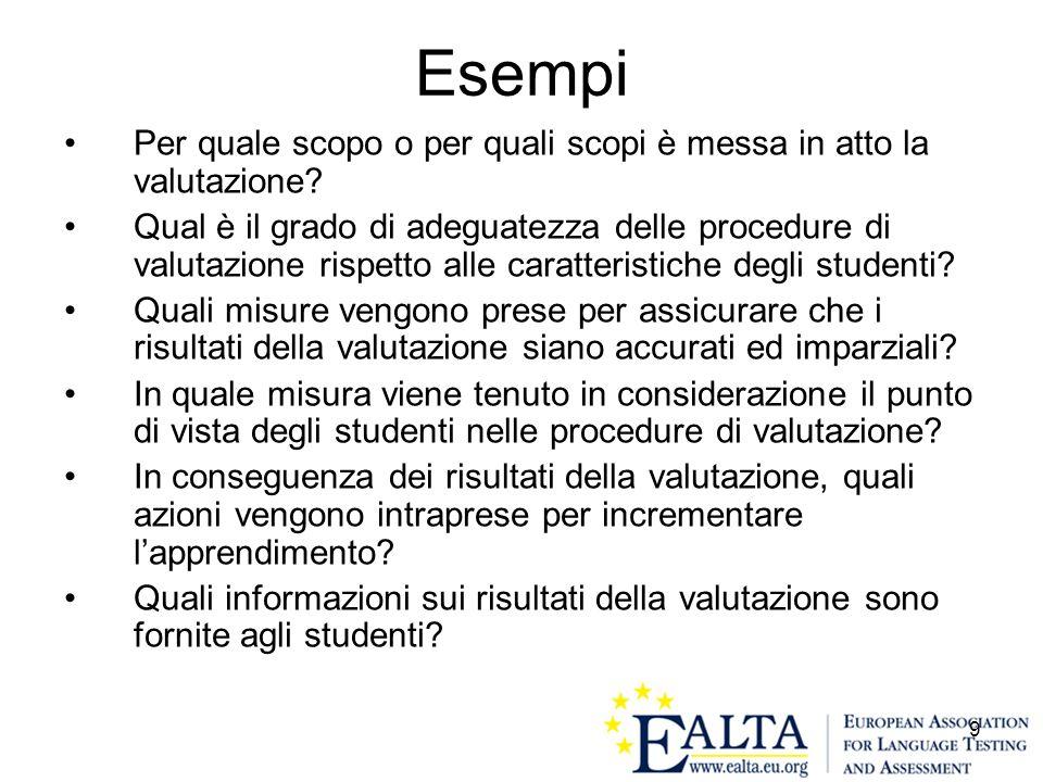 Esempi Per quale scopo o per quali scopi è messa in atto la valutazione